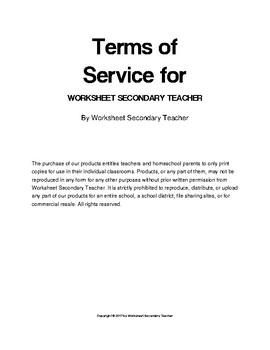Worksheet Secondary Teacher TOS