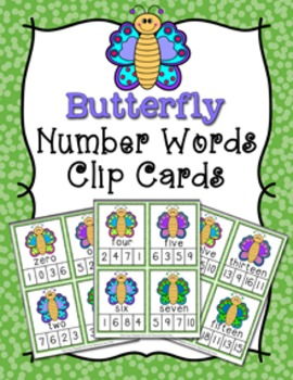 Spring Butterfly Number Words Clip Cards
