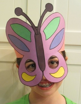 Spring Butterfly Sentence Strip Hat Mask