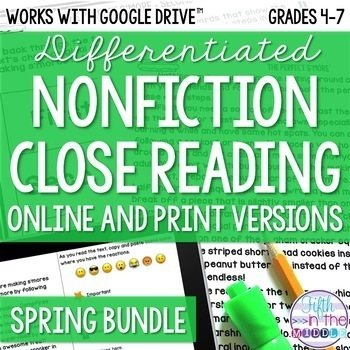 Spring COMBO Differentiated Nonfiction Close Reading Texts and Questions Bundle