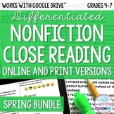 Spring COMBO Differentiated Nonfiction Close Reading Texts