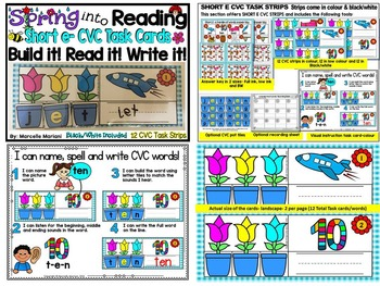 Spring- CVC Literacy Center- Spring into Learning-Name, Build & Write CVC