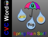 Spring CVC Word -  April Raindrop Vowel Sort and Write Around the Room Bundle