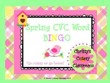Spring CVC Word Bingo