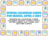 Spring Calendar Cards for March, April & May