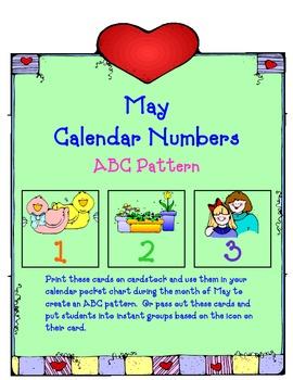 Spring Calendar Numbers: ABC Pattern, sooooo cute!   (Great for pre-K, TK, K, 1)