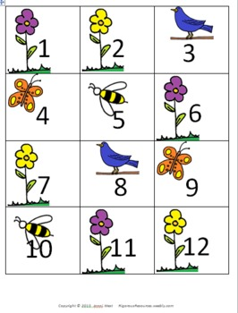 Spring Calendar Numbers and Months