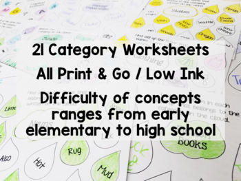 Spring Category Worksheets for Early Elementary through High School