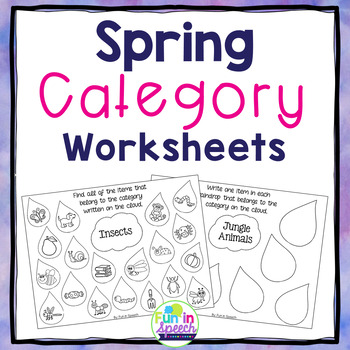 Spring Category Worksheets for Early Elementary through Hi