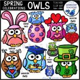 Spring Celebrations Owls Clip Art