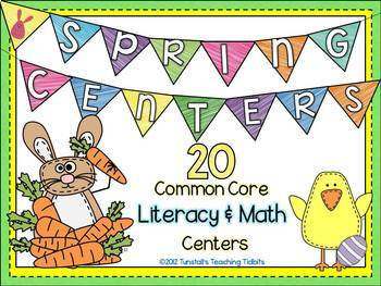 Spring Centers- 20 Common Core Math and Literacy Centers Bundle