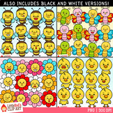 Spring Character Faces Emoji Clip Art Bundle