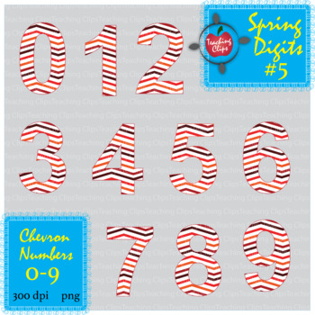 Spring Chevron Numbers #5   0-9