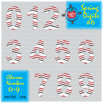 Spring Chevron Numbers #6  0-9