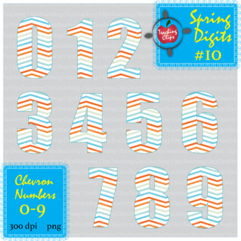 Spring Chevron Numbers #10 0-9