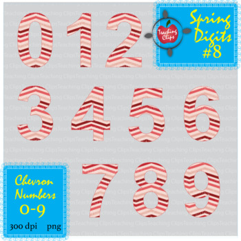 Spring Chevron Numbers #8 0-9