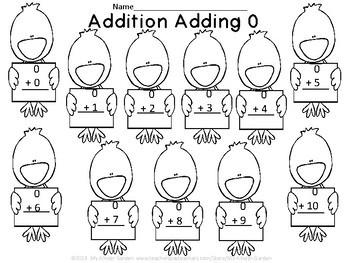 Spring Chick Addition Adding 0-10 Math Worksheets