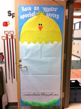 Spring Chick Bulletin Board Door