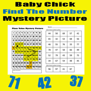 Spring Chick Find The Number Sheet - 11x17 - Easter / Spring
