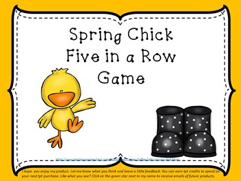 Spring Chick Five in a Row Math Game