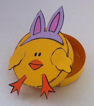 Spring Chick Papercraft Printable Box