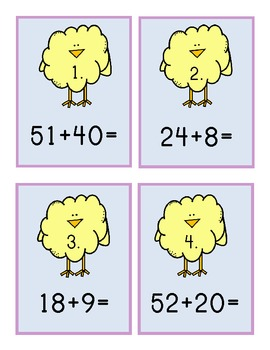 Spring Chick Two Digit Addition Center 1.NBT.4