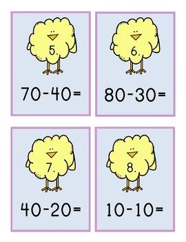 Spring Chick Two Digit Subtraction Center 1.NBT.6