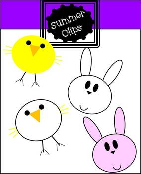 Spring Chick and Bunny Clip art FREEBIE