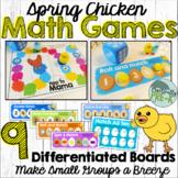 Spring Chicken Math Games: Roll & Hatch, 10 Frame Hatch, &