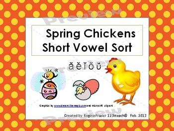 Spring Chickens Short Vowel Sort  Common Core RF K.3