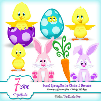 Spring Chicks, Bunnies and Carrot (EASTER) Clipart