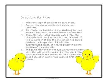 Spring Chicks Categories for Vocabulary Development