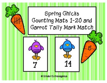 Spring Chicks Counting Mats and Tally Mark Match