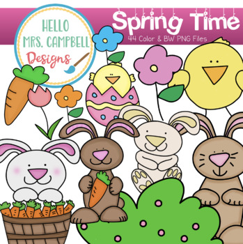 Spring Chicks and Bunnies Clipart