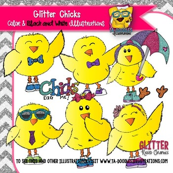 Spring Chicks with Glitter Clipart