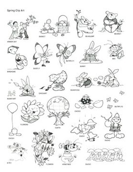 Spring Clip Art: 37 Black & White Images for Creative Use