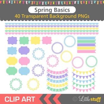 Spring Clip Art, Border Clipart, Frames Clip Art, Banners, Flags, Pastel