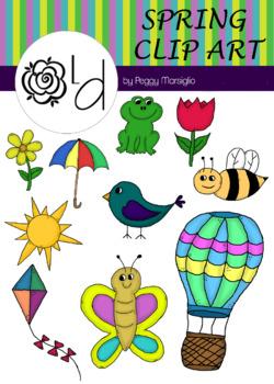 Spring Clip Art - Color & B&W