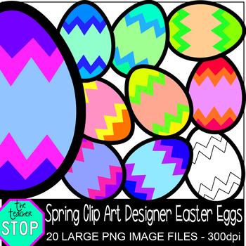 Spring Clip Art Colorful Designer Easter Eggs {The Teacher Stop}