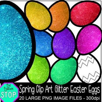 Spring Clip Art Colorful Glitter Easter Eggs {The Teacher Stop}