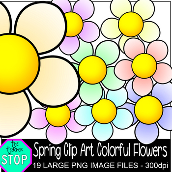 Spring Clip Art Colorful Spring Flowers {The Teacher Stop}