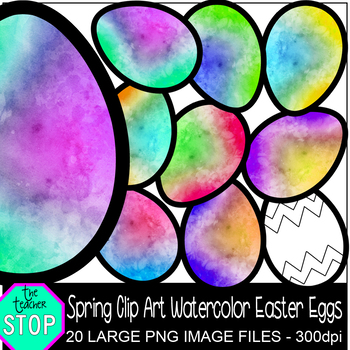 Spring Clip Art Colorful Watercolor Easter Eggs {The Teacher Stop}