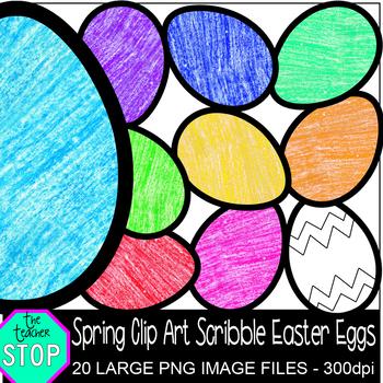 Spring Clip Art Crayon Scribble Easter Eggs {The Teacher Stop}