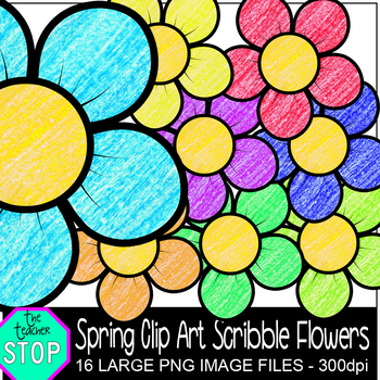 Spring Clip Art Crayon Scribble Flowers {The Teacher Stop}
