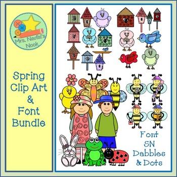 Spring Clip Art and Font Bundle