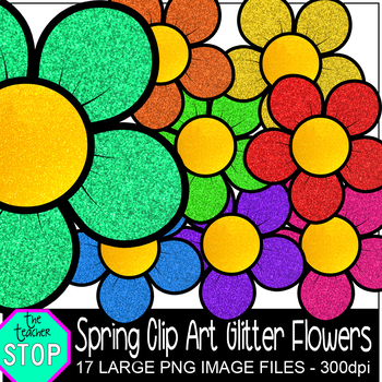 Spring Clip Art GLITTER Flowers {The Teacher Stop}