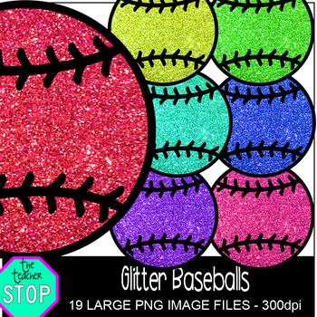 Spring Clip Art Glitter Baseballs {The Teacher Stop}