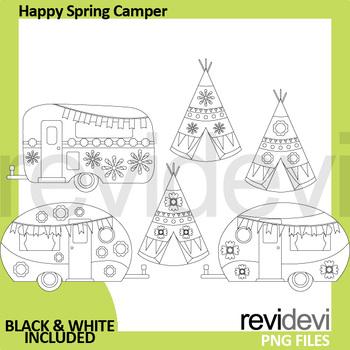 Spring Clip Art (RV caravan camper, teepee tent clipart)