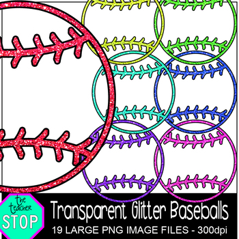 Spring Clip Art Transparent Glitter Baseballs {The Teacher Stop}