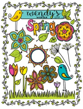 Spring Clip Art and Flower Doodles ~ Wendy's Works
